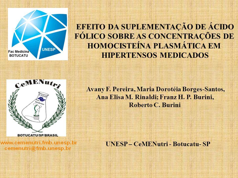 EFEITO DA SUPLEMENTAÇÃO DE ÁCIDO FÓLICO SOBRE AS CONCENTRAÇÕES DE HOMOCISTEÍNA PLASMÁTICA EM HIPERTENSOS MEDICADOS Avany F. Pereira, Maria Dorotéia Bo