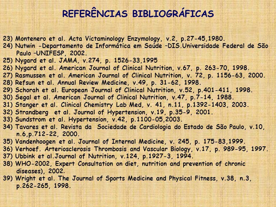 23) Montenero et al. Acta Victaminology Enzymology, v.2, p.27-45,1980. 24) Nutwin -Departamento de Informática em Saúde –DIS.Universidade Federal de S