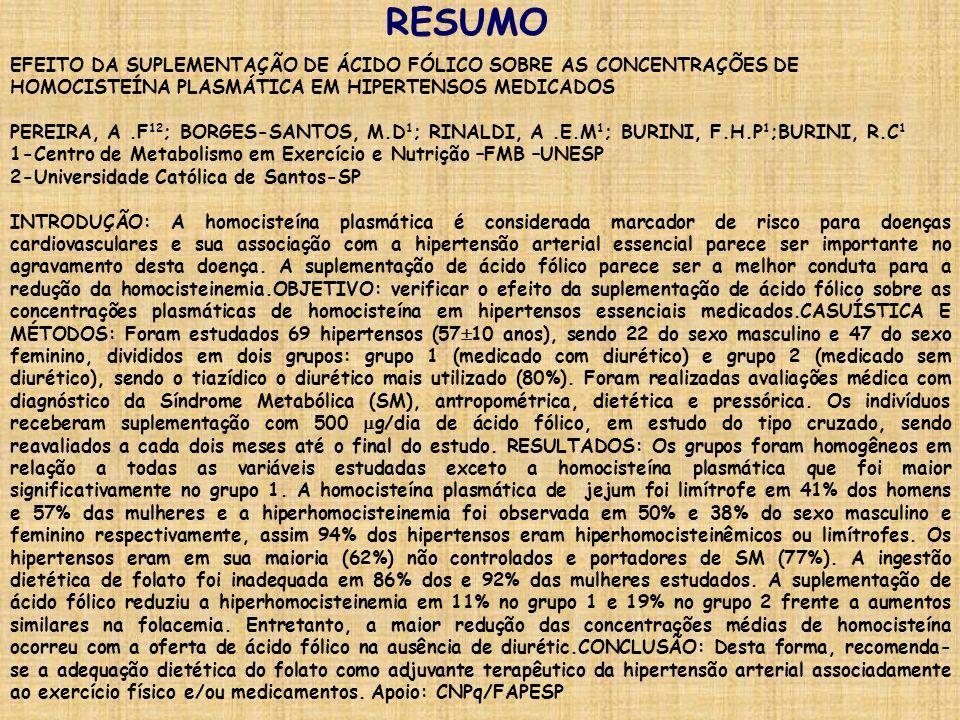 RESUMO EFEITO DA SUPLEMENTAÇÃO DE ÁCIDO FÓLICO SOBRE AS CONCENTRAÇÕES DE HOMOCISTEÍNA PLASMÁTICA EM HIPERTENSOS MEDICADOS PEREIRA, A.F 12 ; BORGES-SAN