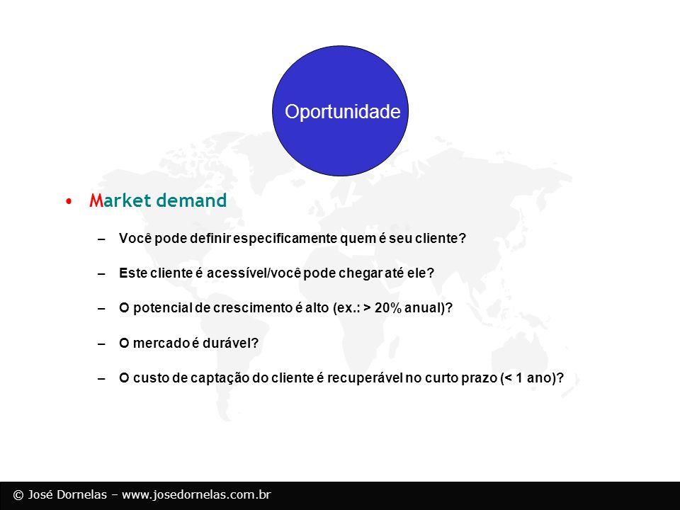 © José Dornelas – www.josedornelas.com.br Oportunidade Market demand –Você pode definir especificamente quem é seu cliente? –Este cliente é acessível/