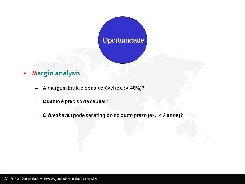 © José Dornelas – www.josedornelas.com.br Opportunity Resources Margin analysis –A margem bruta é considerável (ex.: > 40%)? –Quanto é preciso de capi