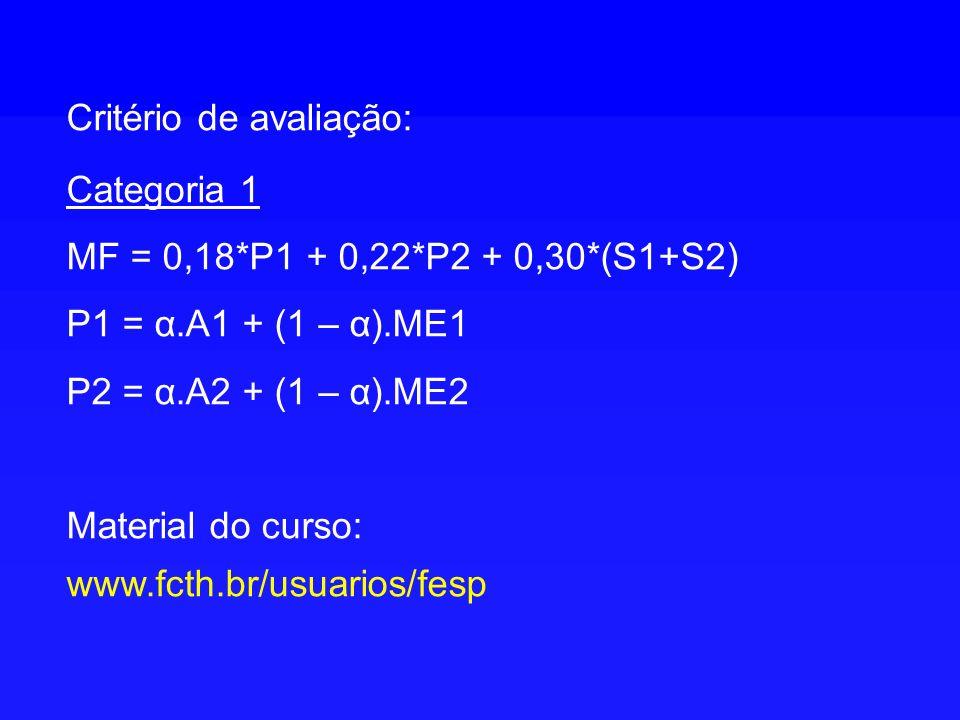 Critério de avaliação: Categoria 1 MF = 0,18*P1 + 0,22*P2 + 0,30*(S1+S2) P1 = α.A1 + (1 – α).ME1 P2 = α.A2 + (1 – α).ME2 Material do curso: www.fcth.b