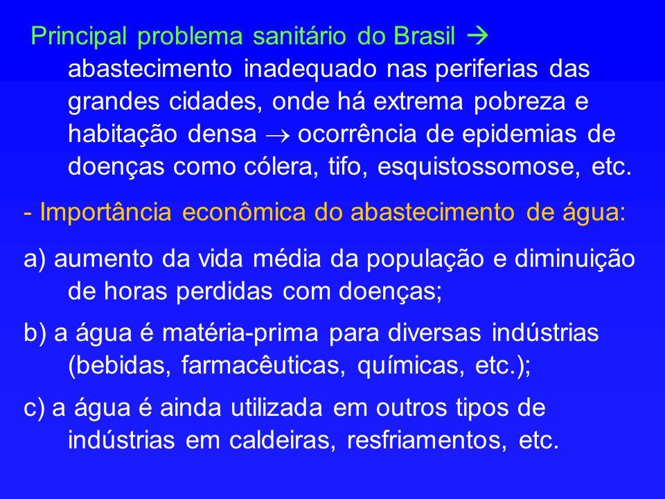 Principal problema sanitário do Brasil abastecimento inadequado nas periferias das grandes cidades, onde há extrema pobreza e habitação densa ocorrência de epidemias de doenças como cólera, tifo, esquistossomose, etc.