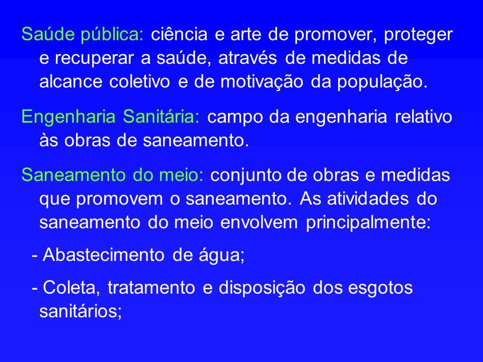 Saúde pública: ciência e arte de promover, proteger e recuperar a saúde, através de medidas de alcance coletivo e de motivação da população.