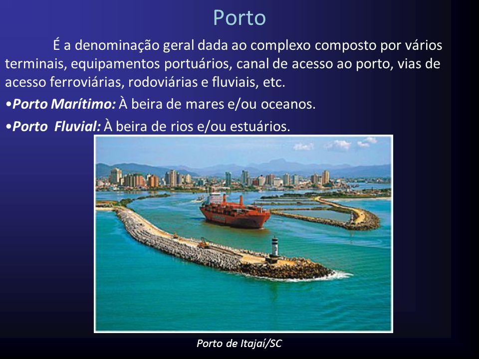 Terminal Portuário -Unidade menor em que é dividido um porto; -Administrada independentemente por um operador portuário privado ou, quando a administração é estatal, pela União, Estado ou Município; -Pode ser composto por um ou mais berços de atracação.