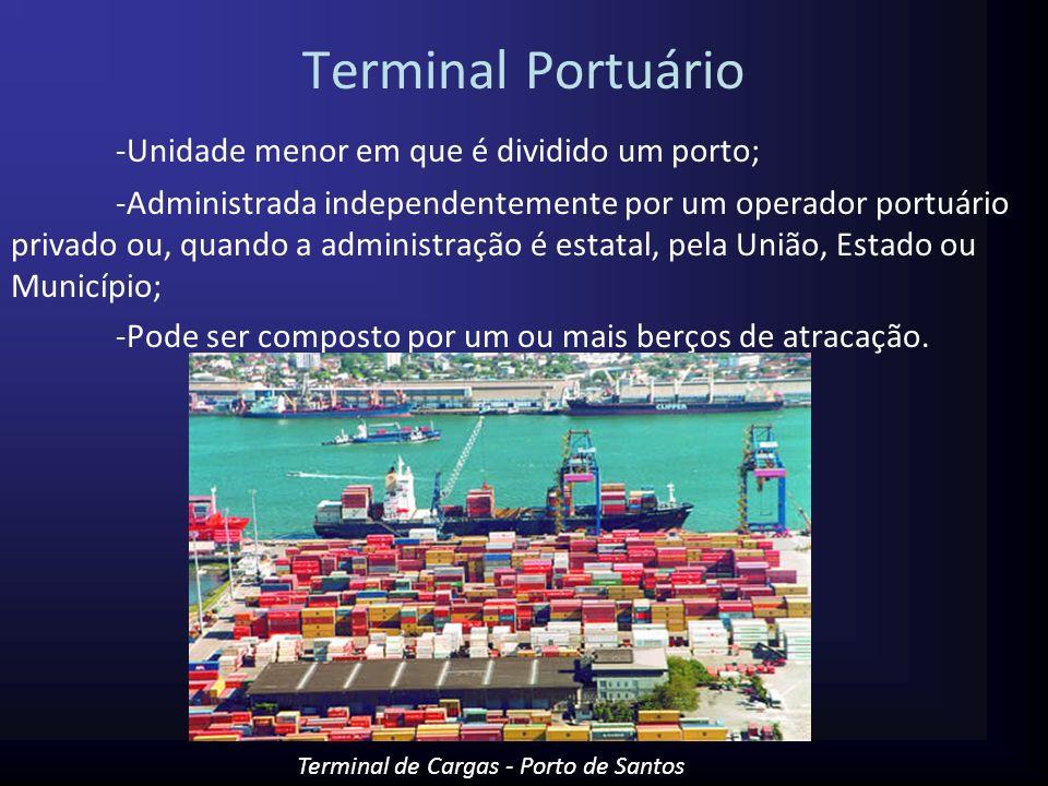 Cais ou Berço de Atracação Cais ou pier de atracação : Estrutura, uma plataforma, onde os navios efetuam embarque e desembarque de carga ou passageiros.