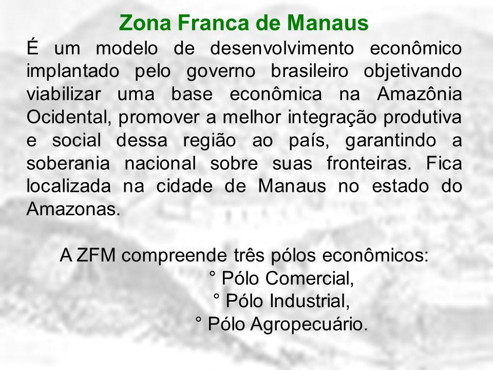 Zona Franca de Manaus É um modelo de desenvolvimento econômico implantado pelo governo brasileiro objetivando viabilizar uma base econômica na Amazôni