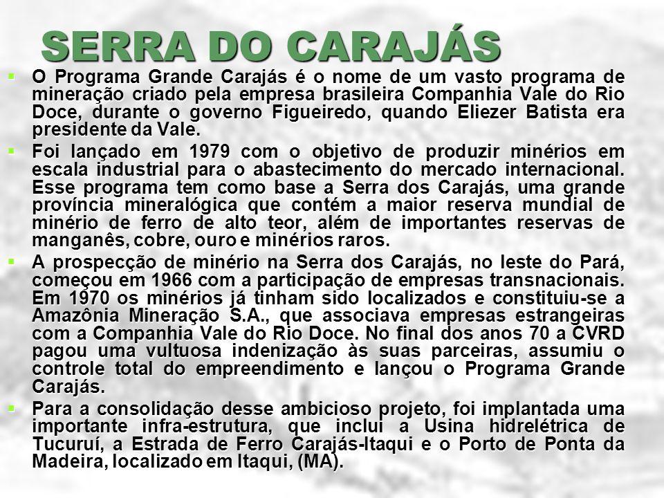 SERRA DO CARAJÁS O Programa Grande Carajás é o nome de um vasto programa de mineração criado pela empresa brasileira Companhia Vale do Rio Doce, duran
