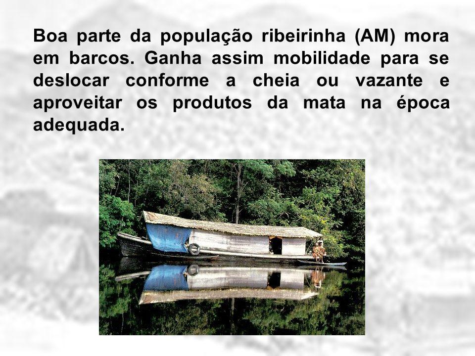 Boa parte da população ribeirinha (AM) mora em barcos. Ganha assim mobilidade para se deslocar conforme a cheia ou vazante e aproveitar os produtos da