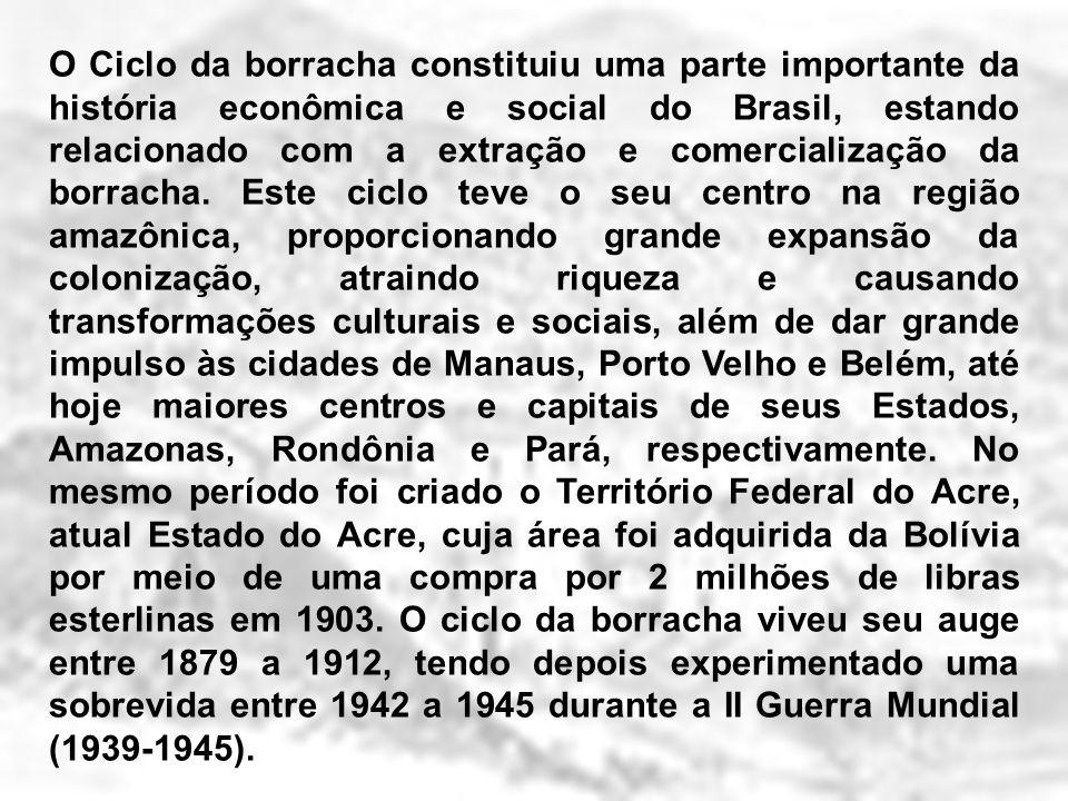 O Ciclo da borracha constituiu uma parte importante da história econômica e social do Brasil, estando relacionado com a extração e comercialização da