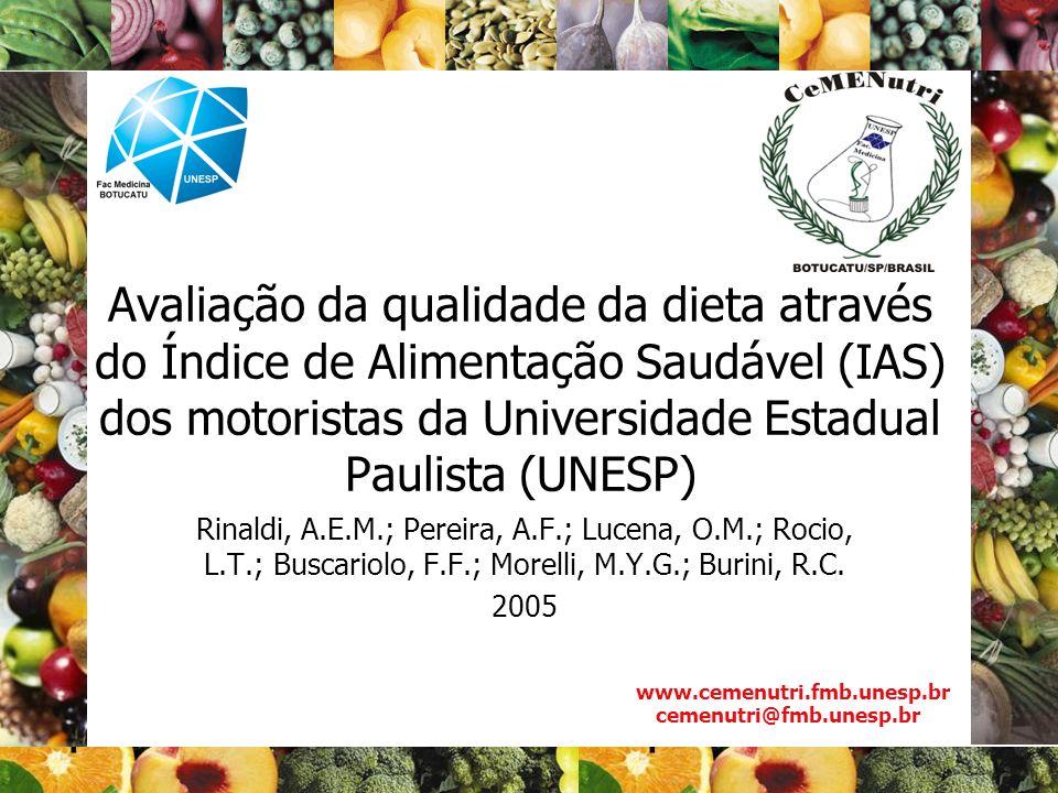 Avaliação da qualidade da dieta através do Índice de Alimentação Saudável (IAS) dos motoristas da Universidade Estadual Paulista (UNESP) Rinaldi, A.E.