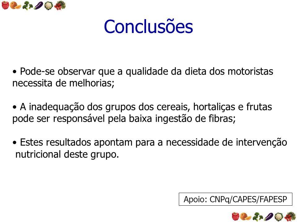 Conclusões Pode-se observar que a qualidade da dieta dos motoristas necessita de melhorias; A inadequação dos grupos dos cereais, hortaliças e frutas