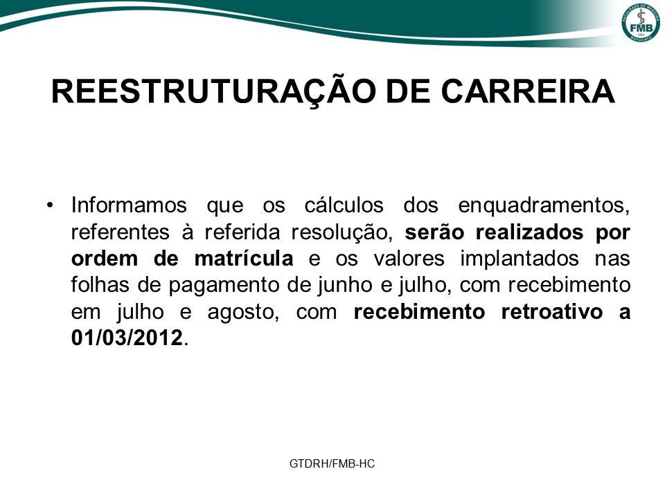 GTDRH/FMB-HC REESTRUTURAÇÃO DE CARREIRA Informamos que os cálculos dos enquadramentos, referentes à referida resolução, serão realizados por ordem de matrícula e os valores implantados nas folhas de pagamento de junho e julho, com recebimento em julho e agosto, com recebimento retroativo a 01/03/2012.