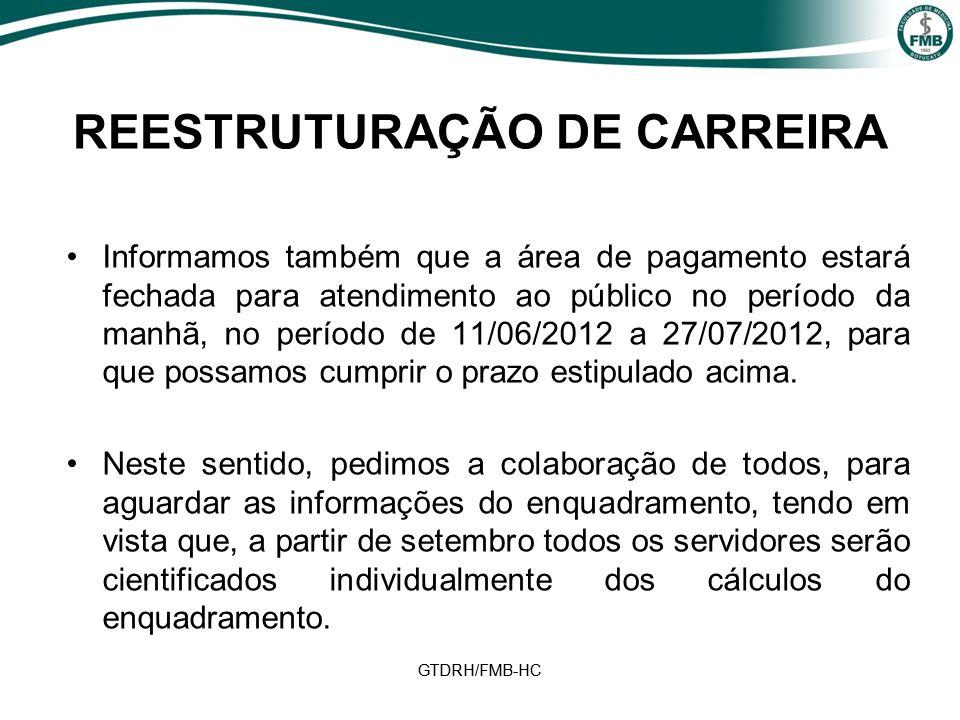 GTDRH/FMB-HC REESTRUTURAÇÃO DE CARREIRA Informamos também que a área de pagamento estará fechada para atendimento ao público no período da manhã, no período de 11/06/2012 a 27/07/2012, para que possamos cumprir o prazo estipulado acima.