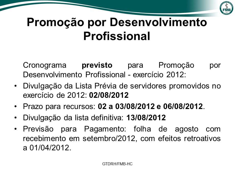 GTDRH/FMB-HC Cronograma previsto para Promoção por Desenvolvimento Profissional - exercício 2012: Divulgação da Lista Prévia de servidores promovidos no exercício de 2012: 02/08/2012 Prazo para recursos: 02 a 03/08/2012 e 06/08/2012.