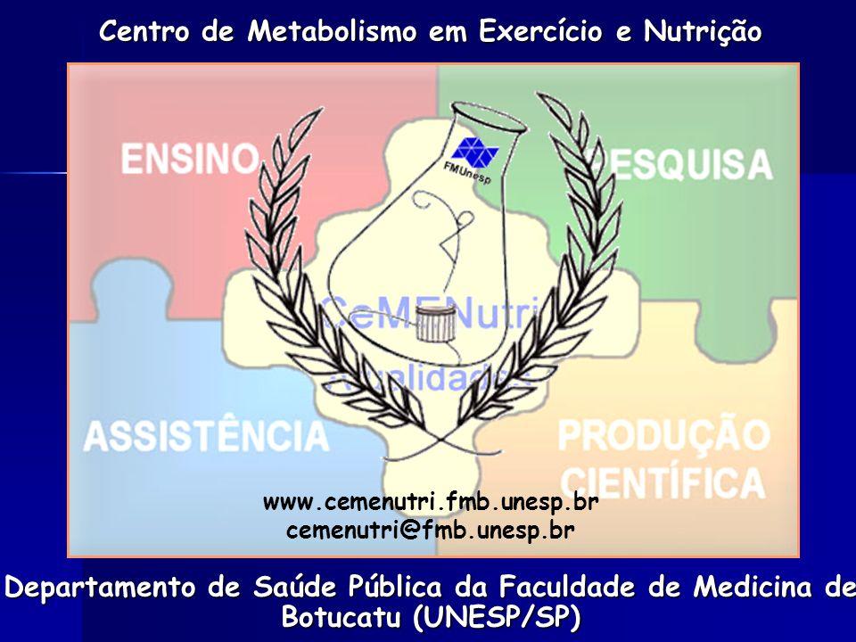 Departamento de Saúde Pública da Faculdade de Medicina de Botucatu (UNESP/SP) Centro de Metabolismo em Exercício e Nutrição www.cemenutri.fmb.unesp.br