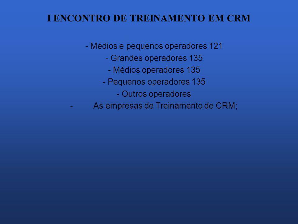I ENCONTRO DE TREINAMENTO EM CRM - Médios e pequenos operadores 121 - Grandes operadores 135 - Médios operadores 135 - Pequenos operadores 135 - Outro