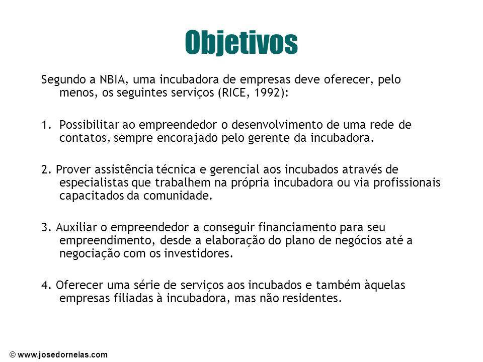 Objetivos Segundo a NBIA, uma incubadora de empresas deve oferecer, pelo menos, os seguintes serviços (RICE, 1992): 1.Possibilitar ao empreendedor o d