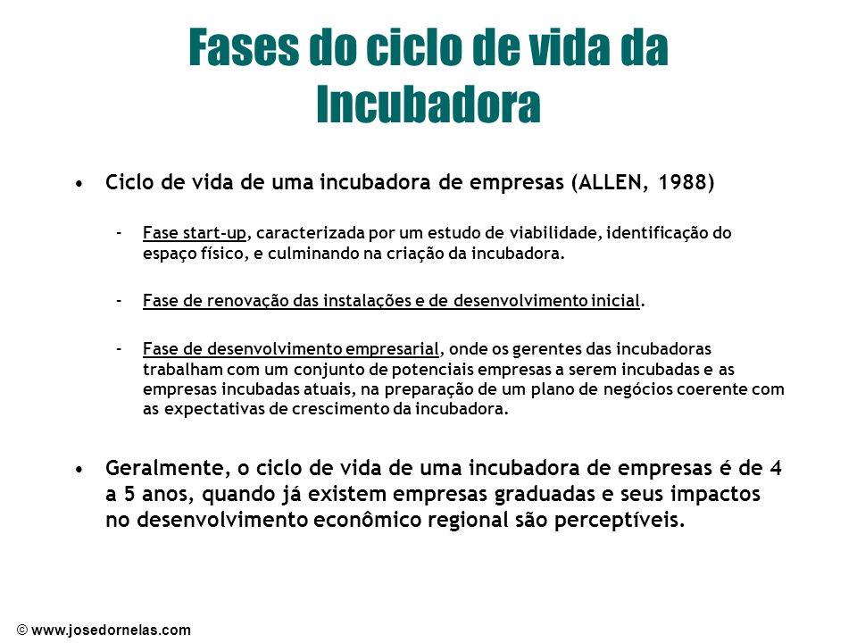 © www.josedornelas.com Fases do ciclo de vida da Incubadora Ciclo de vida de uma incubadora de empresas (ALLEN, 1988) –Fase start-up, caracterizada po