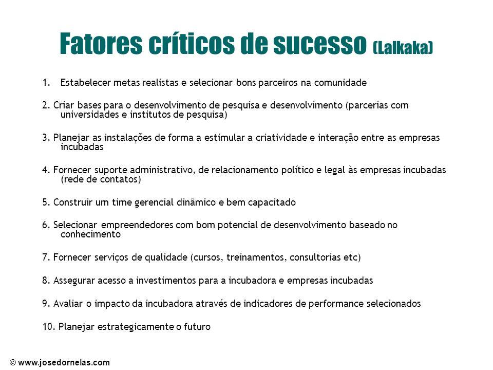 © www.josedornelas.com Fatores críticos de sucesso (Lalkaka) 1.Estabelecer metas realistas e selecionar bons parceiros na comunidade 2. Criar bases pa