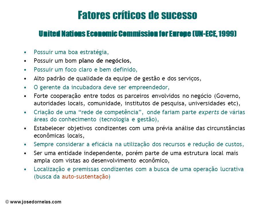 © www.josedornelas.com Fatores críticos de sucesso United Nations Economic Commission for Europe (UN-ECE, 1999) Possuir uma boa estratégia, Possuir um