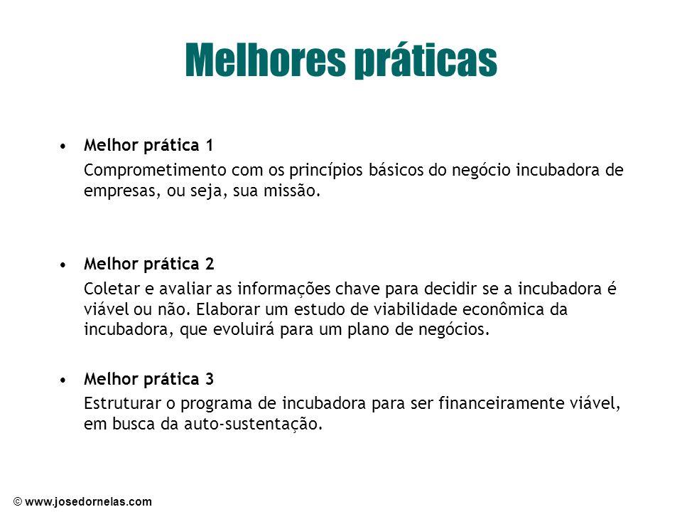 © www.josedornelas.com Melhores práticas Melhor prática 1 Comprometimento com os princípios básicos do negócio incubadora de empresas, ou seja, sua mi