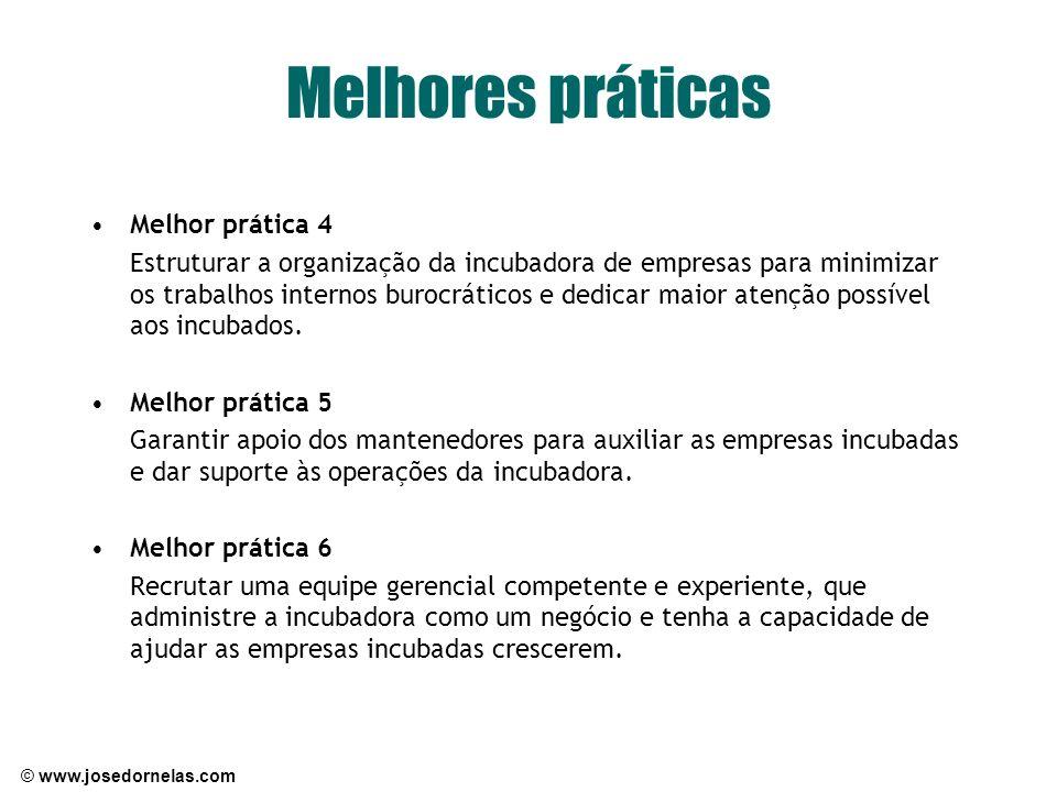 © www.josedornelas.com Melhores práticas Melhor prática 4 Estruturar a organização da incubadora de empresas para minimizar os trabalhos internos buro