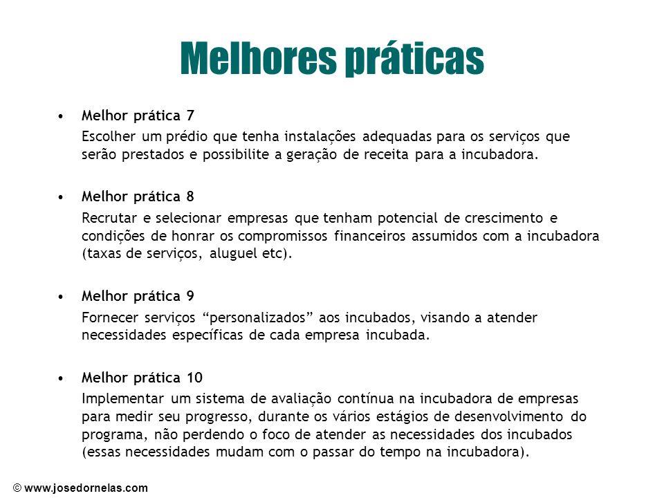 © www.josedornelas.com Melhores práticas Melhor prática 7 Escolher um prédio que tenha instalações adequadas para os serviços que serão prestados e po