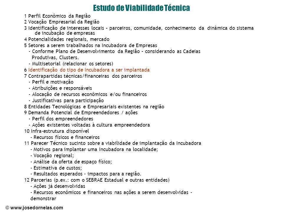 © www.josedornelas.com Estudo de Viabilidade Técnica 1 Perfil Econômico da Região 2 Vocação Empresarial da Região 3 Identificação de interesses locais