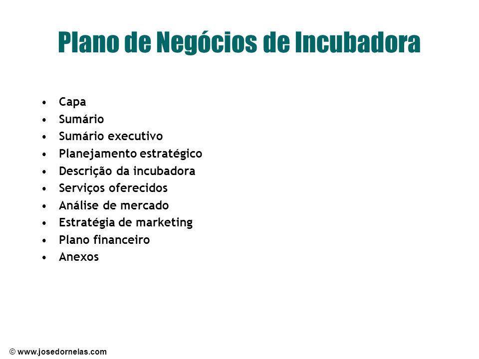© www.josedornelas.com Plano de Negócios de Incubadora Capa Sumário Sumário executivo Planejamento estratégico Descrição da incubadora Serviços oferec