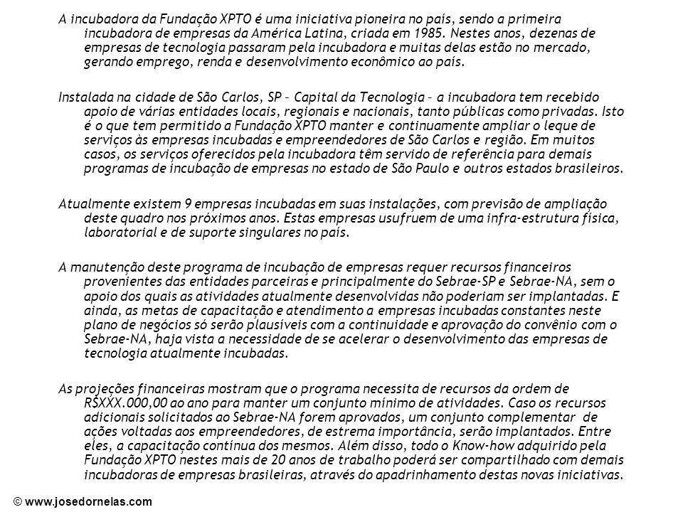 © www.josedornelas.com A incubadora da Fundação XPTO é uma iniciativa pioneira no país, sendo a primeira incubadora de empresas da América Latina, cri
