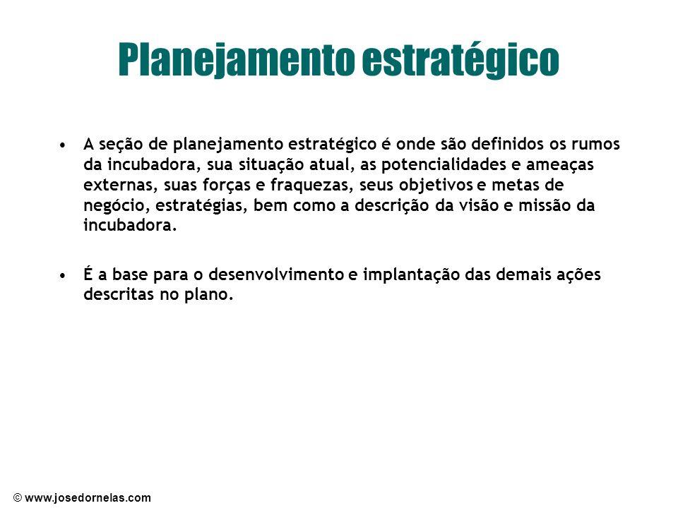 © www.josedornelas.com Planejamento estratégico A seção de planejamento estratégico é onde são definidos os rumos da incubadora, sua situação atual, a