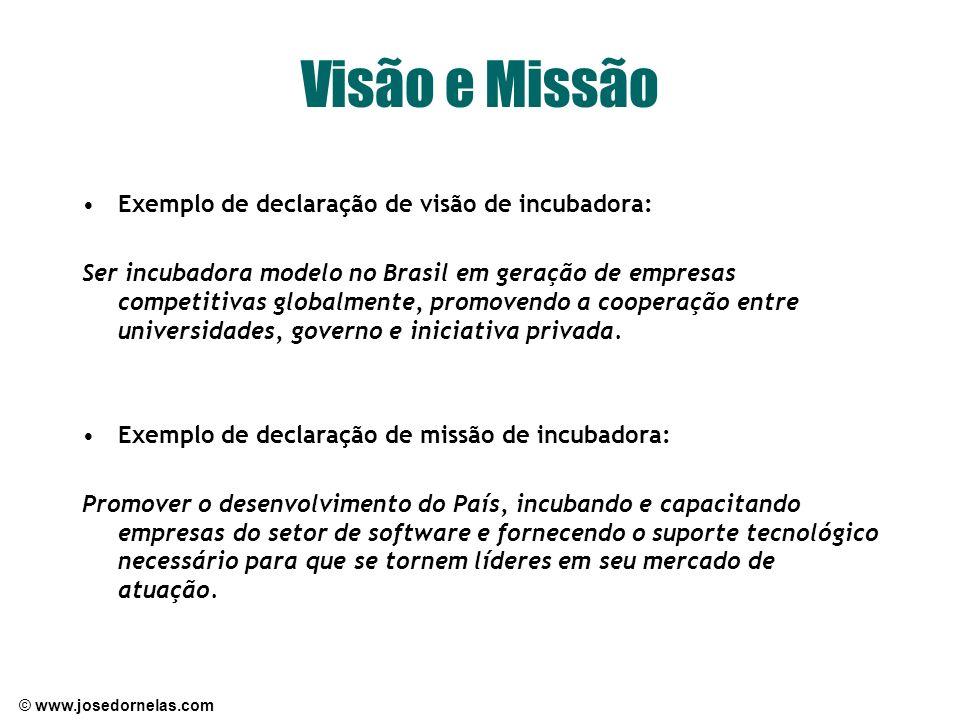 Visão e Missão Exemplo de declaração de visão de incubadora: Ser incubadora modelo no Brasil em geração de empresas competitivas globalmente, promoven