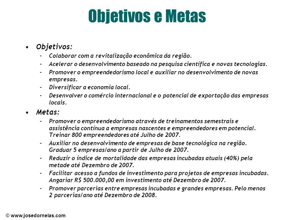 © www.josedornelas.com Objetivos e Metas Objetivos: –Colaborar com a revitalização econômica da região. –Acelerar o desenvolvimento baseado na pesquis