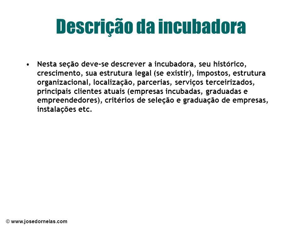 © www.josedornelas.com Descrição da incubadora Nesta seção deve-se descrever a incubadora, seu histórico, crescimento, sua estrutura legal (se existir