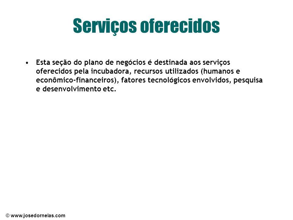 © www.josedornelas.com Serviços oferecidos Esta seção do plano de negócios é destinada aos serviços oferecidos pela incubadora, recursos utilizados (h