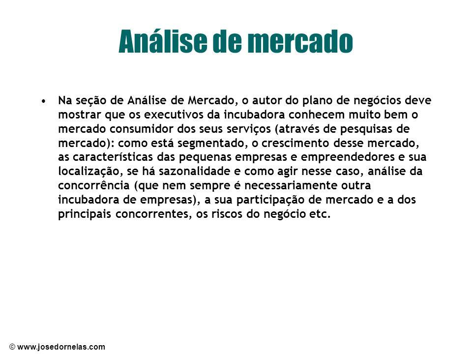 © www.josedornelas.com Análise de mercado Na seção de Análise de Mercado, o autor do plano de negócios deve mostrar que os executivos da incubadora co