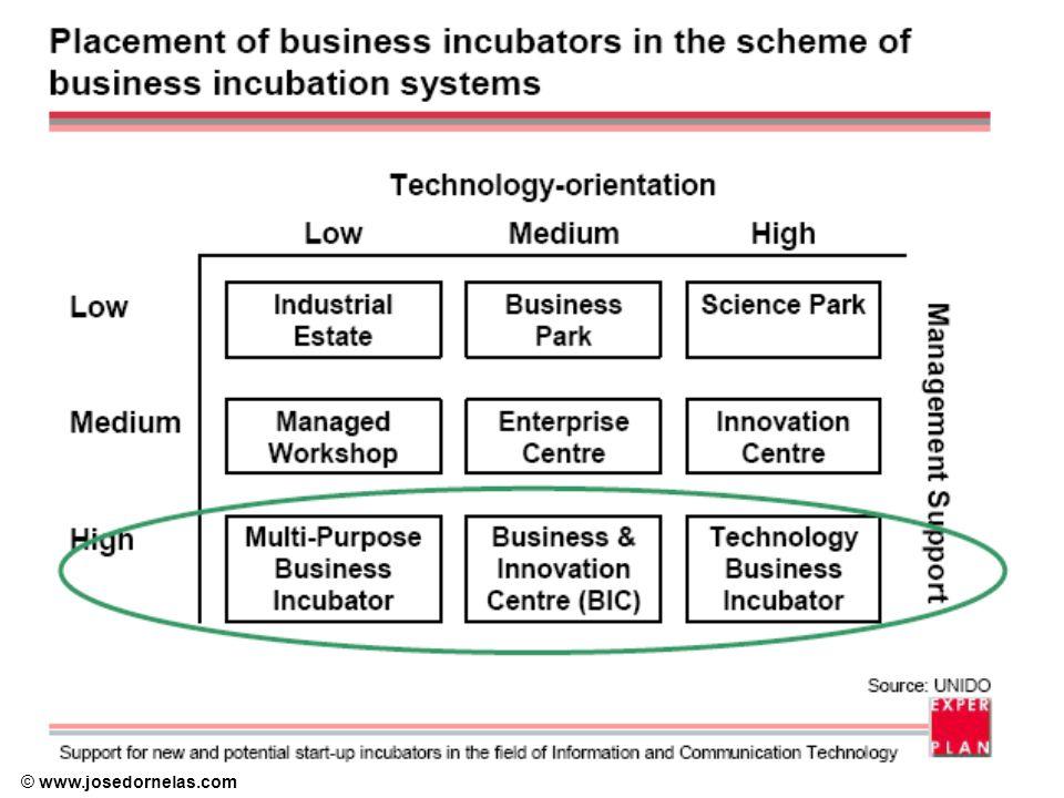 © www.josedornelas.com Fases do ciclo de vida da Incubadora Ciclo de vida de uma incubadora de empresas (ALLEN, 1988) –Fase start-up, caracterizada por um estudo de viabilidade, identificação do espaço físico, e culminando na criação da incubadora.