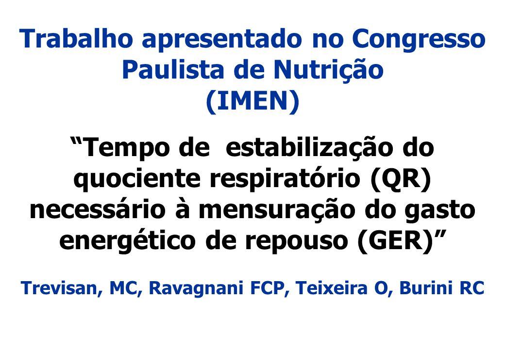 Trabalho apresentado no Congresso Paulista de Nutrição (IMEN) Tempo de estabilização do quociente respiratório (QR) necessário à mensuração do gasto e