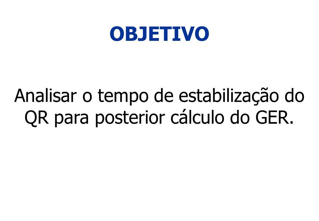 OBJETIVO Analisar o tempo de estabilização do QR para posterior cálculo do GER.