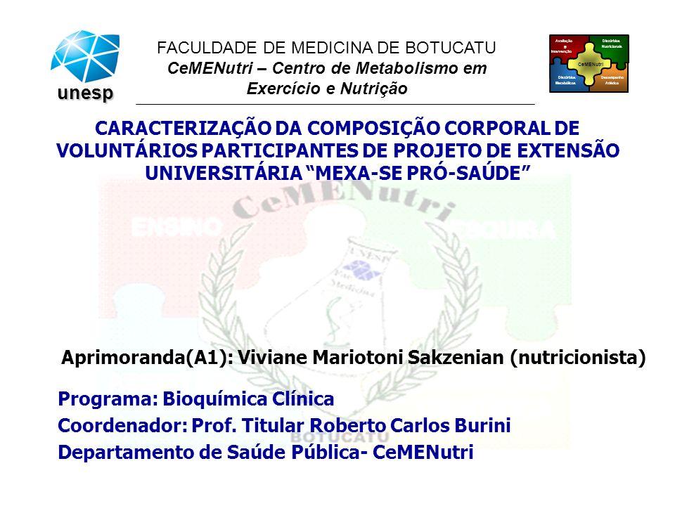 CeMENutri Avaliação e Intervenção Desempenho Atlético Distúrbios Metabólicos Distúrbios Nutricionais FACULDADE DE MEDICINA DE BOTUCATU CeMENutri – Centro de Metabolismo em Exercício e Nutrição unesp Aprimoranda(A1): Viviane Mariotoni Sakzenian (nutricionista) CARACTERIZAÇÃO DA COMPOSIÇÃO CORPORAL DE VOLUNTÁRIOS PARTICIPANTES DE PROJETO DE EXTENSÃO UNIVERSITÁRIA MEXA-SE PRÓ-SAÚDE Programa: Bioquímica Clínica Coordenador: Prof.