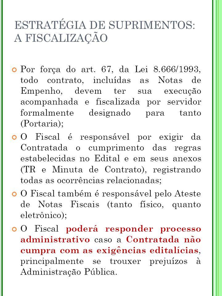 ESTRATÉGIA DE SUPRIMENTOS: A FISCALIZAÇÃO Por força do art. 67, da Lei 8.666/1993, todo contrato, incluídas as Notas de Empenho, devem ter sua execuçã