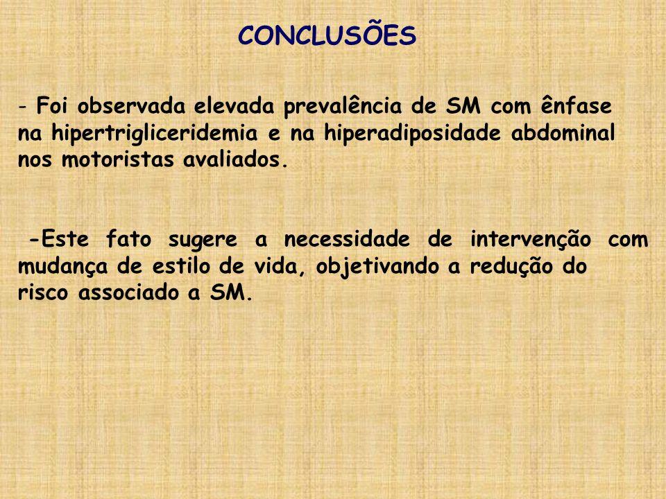 CONCLUSÕES - Foi observada elevada prevalência de SM com ênfase na hipertrigliceridemia e na hiperadiposidade abdominal nos motoristas avaliados. -Est