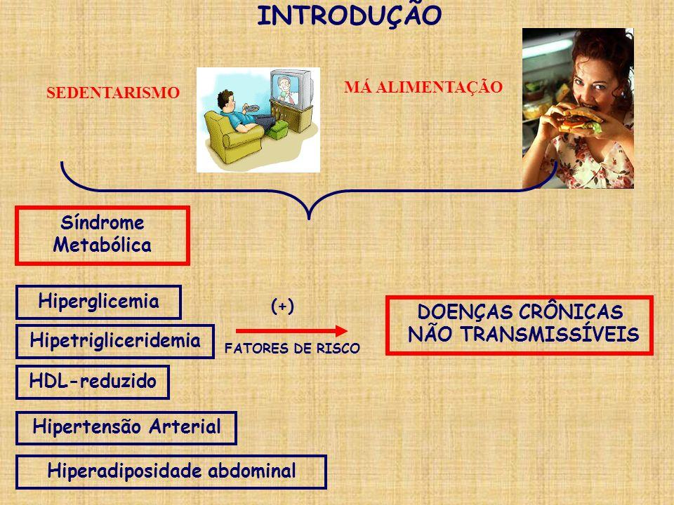 INTRODUÇÃO Síndrome Metabólica FATORES DE RISCO DOENÇAS CRÔNICAS NÃO TRANSMISSÍVEIS Hiperglicemia HDL-reduzido Hipertensão Arterial Hiperadiposidade a