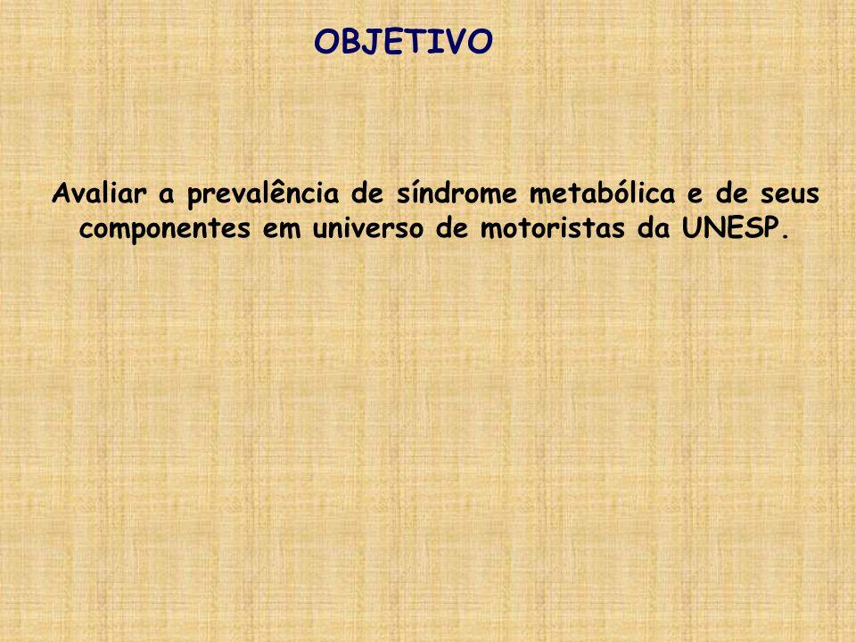 OBJETIVO Avaliar a prevalência de síndrome metabólica e de seus componentes em universo de motoristas da UNESP.