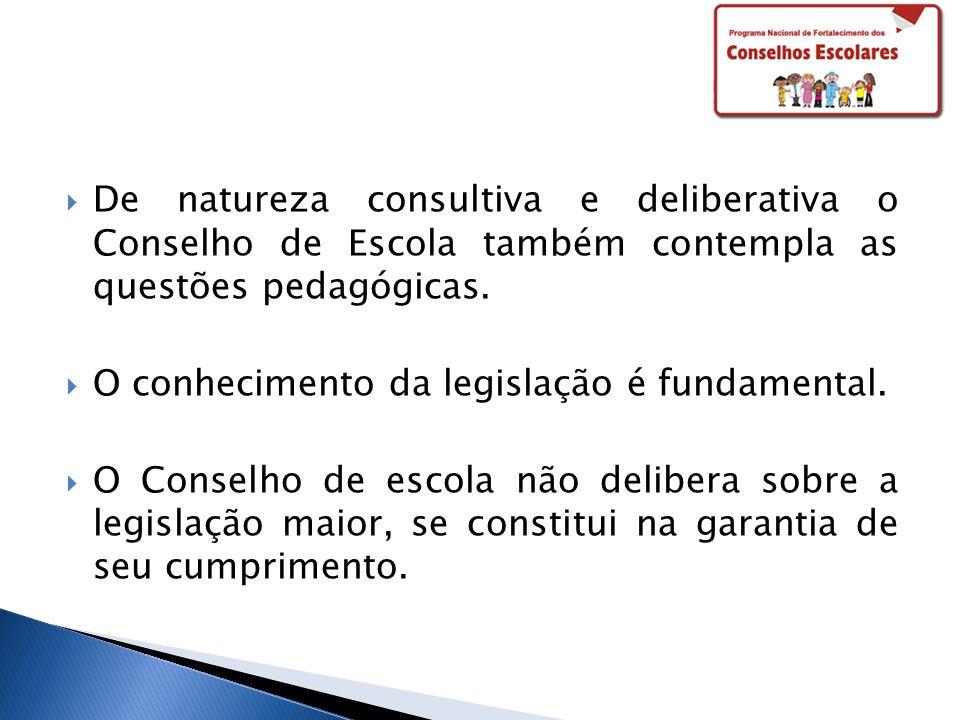 De natureza consultiva e deliberativa o Conselho de Escola também contempla as questões pedagógicas.