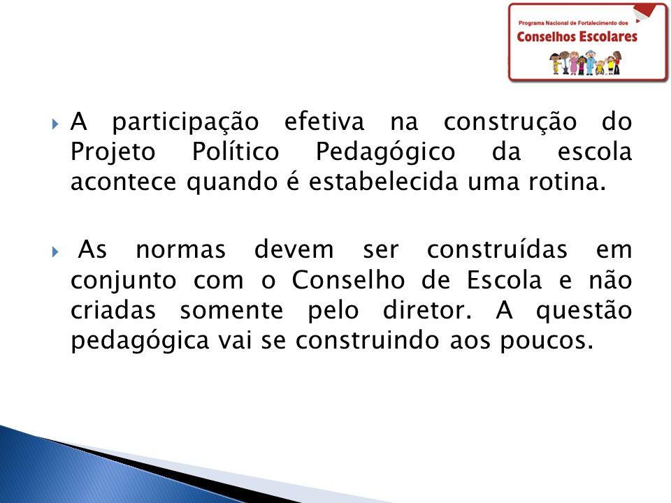 A participação efetiva na construção do Projeto Político Pedagógico da escola acontece quando é estabelecida uma rotina. As normas devem ser construíd