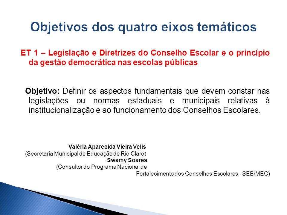 ET 1 – Legislação e Diretrizes do Conselho Escolar e o princípio da gestão democrática nas escolas públicas Objetivo: Definir os aspectos fundamentais