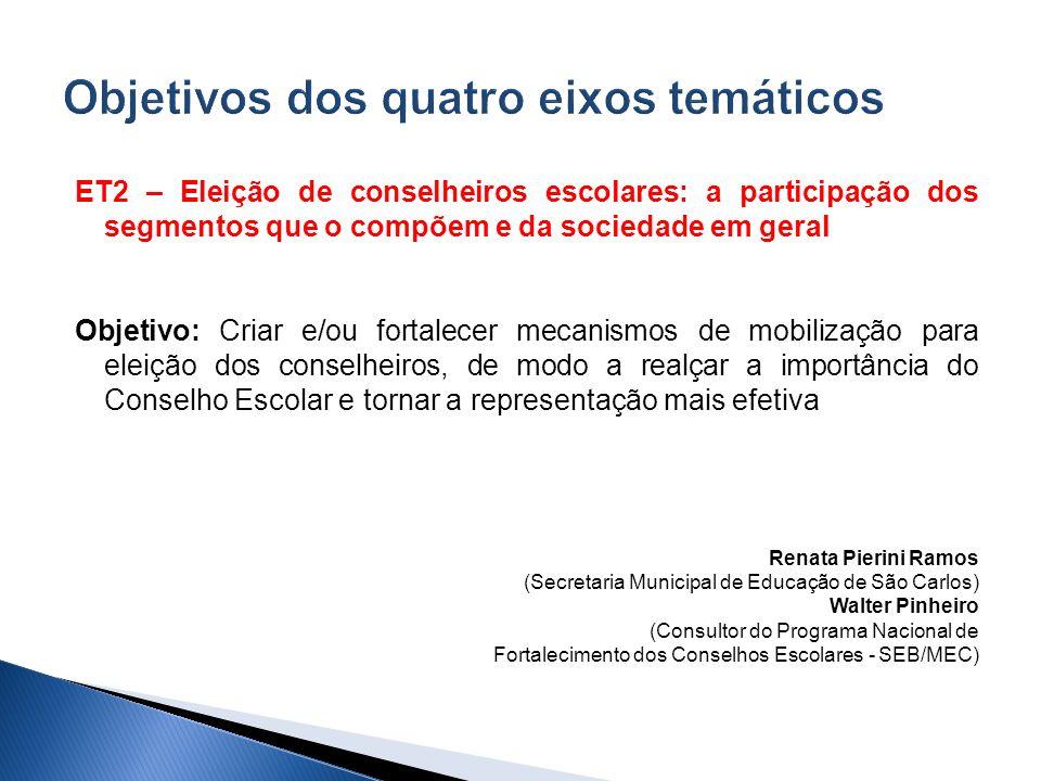 ET2 – Eleição de conselheiros escolares: a participação dos segmentos que o compõem e da sociedade em geral Objetivo: Criar e/ou fortalecer mecanismos