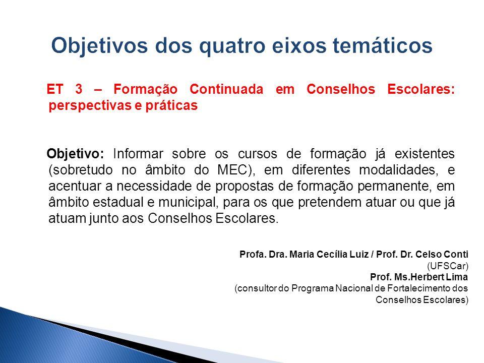 ET 3 – Formação Continuada em Conselhos Escolares: perspectivas e práticas Objetivo: Informar sobre os cursos de formação já existentes (sobretudo no